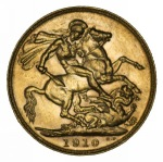 1910 Perth Mint KEVII Gold Sovereign good VF.
