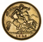 1906 Melbourne Mint KEVII Gold Half Sovereign good F.