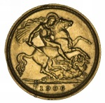 1906 Sydney Mint KEVII Gold Half Sovereign VF. A few scratches.