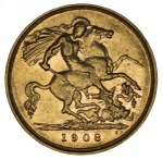 1908 Melbourne Mint KEVII Gold Half Sovereign F/VF.