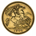 1908 Melbourne Mint KEVII Gold Half Sovereign VF.
