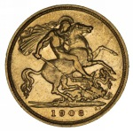 1908 Sydney Mint KEVII Gold Half Sovereign F.