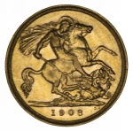 1908 Melbourne Mint KEVII Gold Half Sovereign almost EF.