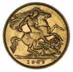 1909 Melbourne Mint KEVII Gold Half Sovereign F.