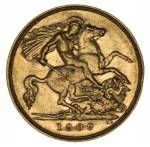 1909 Melbourne Mint KEVII Gold Half Sovereign VF.