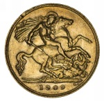 1909 Perth Mint KEVII Gold Half Sovereign F/VF. Rim knock at 10 O'Clock.