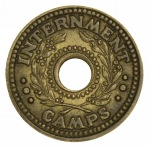 1941 One Penny WWII Brass Internment Camp Token EF.