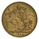 1883 Melbourne Mint St. George Reverse Portrait Type II Queen Victoria Young Head Gold Sovereign with BP VF. McDonald 165b.