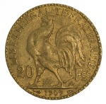 1909 20 Francs Rooster Gold coin VF. 6.45gms of .9000 Gold.
