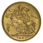 1897 Melbourne Mint Queen Victoria Veiled Head Gold Sovereign VF.