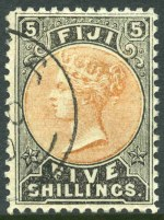 1900 Unissued 5/- Electrotyped printing in Dull Orange and Grey-Black CTO with part