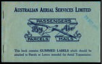 1925 Australian Aerial Services Limited Angel Vignette complete booklet of 3 panes of Air Mail labels. 28 Oct 1925 is rubber stamped on cover, otherwise in excellent condition. Scarce. A.A.M.C. 90b. Frommer 14c. Catalogue Value $600.00.