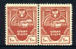 1921 Gorny Slask local insurgents set perf 11¼ in MUH pairs. The 1m value is lightly hinged on one unit. The 60F value is imperforate between the pair, as issued on ungummed paper, but has a light staining. MI 1-7. Catalogue Value Euro 300.00++.