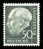 1954 President Heuss set excluding 4pf, 10pf, 20pf and 30pf values MUH. Sg 1,103, 1,105-1,108, 1,110, 1,112 and 1,114-1,122. Catalogue Value £307.00.