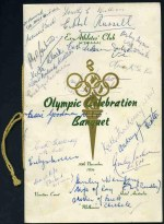 1956 Melbourne Olympics Athletics Saturday, 1st December, Boxing Saturday, 1st December with ringside ticket and Swimming Monday, 3rd December Official programmes, Melbourne 1956 Olympic Souvenir Pictorial and Ex-Athletes' Club Olympic Celebration Banquet programme, plus invitation and entree card. Some autographs. Also The Games of the Sixteenth Olympiad Melbourne official soft cover souvenir book with faulty front cover.