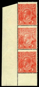 1924 1½d Scarlet Single Wmk KGV lower left corner vertical strip of 3 MUH. Ink striping band of faint colour to upper portion of centre unit. Some perf separation along selvedge.