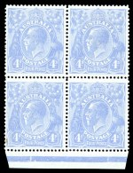 1922 4d Ultramarine Single Wmk KGV Cooke Plate marginal block of 4 MUH and reasonably centered. Lower left unit with minor blemishes.
