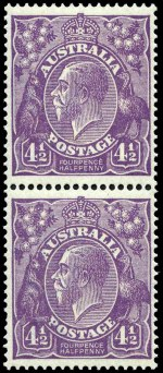 1924 4½d Violet Single Wmk KGV pair MUH and centered to right.