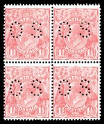 1927 1½d Pale Pink Small Multiple Wmk perf 13½ KGV perforated OS block of 4 mint with hinge remainders. ACSC 92G. Catalogue Value $300.00.