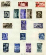 Collection of many hundreds of mostly used stamps on album leaves with numerous useful and better items, including 1949 European Recovery, 1949 Volta, 1950 Radio Conference, 1951 Milano Fair and 1951 Montecassino Abbey sets. Catalogue Value over £1,200.00.