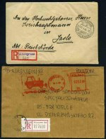 Selection of 40 covers from 1943 to 1990, including Registered covers, Express cover, FDC's, special postmarks, meters and postal cards. Includes 1943 German Occupation of Poland registered cover addressed to the Head of the Army in Jaslo. Variable condition. Also West Germany 1951 10pf + 3pf, 20pf + 5pf and 30pf + 10pf Humanitarian Relief Fund MUH. Sg 1070-1072. Catalogue Value £152.00.