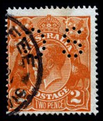 1920 2d Orange Single Wmk KGV perforated OS with Cracked electro through right wattles to
