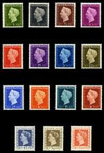 1947-48 Queen Wilhelmina set excluding only the 6c Grey-Blue value MUH. 60c value has one short perf. Sg 640, 641 and 643-655. Catalogue Value £200.00.