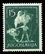 1953 15d Blue-Green Liberation of Istria and Slovene Coast MLH. Sg 759. Catalogue Value £225.00.
