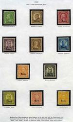 1929 Definitive sets of 11 overprinted Kans. and Nebr. in fine mint condition. Sg 655-676. Catalogue Value £575.00.