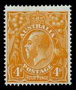 1915 4d Orange Single Wmk KGV inverted watermark with Line through