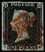 1840 1d Black Queen Victoria imperf from Plate No 2 fine used, with 4 wide margins and neat Red Maltese Cross cancellation. Corner letters S.E. Superb. Sg 2. Catalogue Value £350.00.