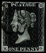 1840 1d Black Queen Victoria imperf from Plate No 5 fine used, with 4 margins, close at right and Black Maltese Cross cancellation. Corner letters K.G. Sg 2. Catalogue Value £350.00.