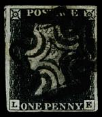 1840 1d Black Queen Victoria imperf from Plate No 6 good used, with 4 margins and Black Maltese Cross cancellation. Bent upper and lower left corners. Corner letters L.E. Sg 2. Catalogue Value £350.00.