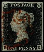 1840 1d Black Queen Victoria imperf from Plate No 7 fine used, with 4 margins, close at base and Red Maltese Cross cancellation. Corner letters B.K. Sg 2. Catalogue Value £375.00.