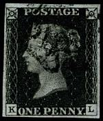 1840 1d Black Queen Victoria imperf from Plate No 8 fine used, with 4 margins and Black Maltese Cross cancellation. Corner letters K.L. Sg 2. Catalogue Value £500.00.