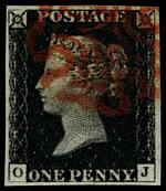 1840 1d Black Queen Victoria imperf from Plate No 1b fine used, with 4 wide margins and neat Red Maltese Cross cancellation. Corner letters O.J. Superb. Sg 2. Catalogue Value £350.00.