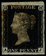 1840 1d Black Queen Victoria imperf from Plate No 6 fine used, with 4 margins and faint Red Maltese Cross cancellation. Corner letters A.J. Sg 2. Catalogue Value £350.00.