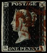 1840 1d Black Queen Victoria imperf from Plate No 4 fine used, with 4 margins, close at top left and Red Maltese Cross cancellation. Corner letters S.L. Sg 2. Catalogue Value £350.00.