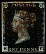 1840 1d Black Queen Victoria imperf from Plate No 8 fine used, with 4 margins and Red Maltese Cross cancellation. Corner letters E.H. Sg 2. Catalogue Value £500.00.