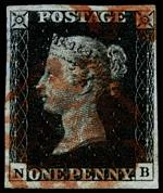 1840 1d Black Queen Victoria imperf from Plate No 6 fine used, with 4 margins and Red Maltese Cross cancellation. Slight thin top left margin. Corner letters N.B. Sg 2. Catalogue Value £350.00.