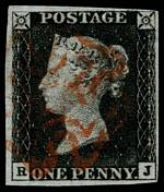 1840 1d Black Queen Victoria imperf from Plate No 7 fine used with 4 margins, close at top right and Red Maltese Cross cancellation. Tiny thin at top left. Corner letters R.J. Sg 2. Catalogue Value £375.00.