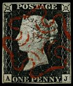 1840 1d Black Queen Victoria imperf from Plate No 5 fine used, with 4 margins and neat Red Maltese Cross cancellation. Margins close at upper right and lower left. Corner letters A.J. Sg 2. Catalogue Value £350.00.