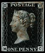 1840 1d Black Queen Victoria imperf from Plate No 6 fine used, with 4 margins, close at base and faint Red Maltese Cross cancellation. Corner letters M.C. Sg 2. Catalogue Value £350.00.