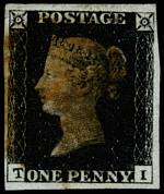 1840 1d Black Queen Victoria imperf from Plate No 6 fine used, with 4 wide margins and smudged Red Maltese Cross cancellation. Corner letters T.I. Sg 2. Catalogue Value £350.00.