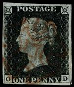 1840 1d Black Queen Victoria imperf from Plate No 1b fine used, with 4 margins, close at upper left and Red Maltese Cross cancellation. Corner letters O.D. Sg 2. Catalogue Value £350.00.