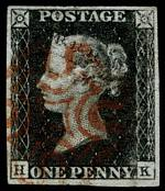 1840 1d Black Queen Victoria imperf from Plate No 1a  fine used, with 4 wide margins and Red Maltese Cross cancellation. Corner letters H.K. Superb. Sg 2. Catalogue Value £350.00.
