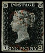 1840 1d Black Queen Victoria imperf from Plate No 7 fine used, with 4 margins and faint Red Maltese Cross cancellation. Bent top left corner. Corner letters I.G. Sg 2. Catalogue Value £375.00.