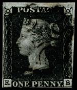 1840 1d Black Queen Victoria imperf from Plate No 5 fine used, with 4 margins and Black Maltese Cross cancellation. Margins close at lower right and base. Corner letters E.B. Bottom serif of E bifurcated. Sg 2. Catalogue Value £350.00.