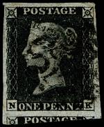 1840 1d Black Queen Victoria imperf from Plate No 6 fine used, with 4 wide margins and Black Maltese Cross cancellation. Tiny thin. Corner letters N.K. Sg 2. Catalogue Value £350.00.