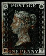 1840 1d Black Queen Victoria imperf from Plate No 6 fine used with 4 margins, close at right and Red Maltese Cross cancellation. Tiny thin spots. Corner letters P.H. Sg 2. Catalogue Value £350.00.